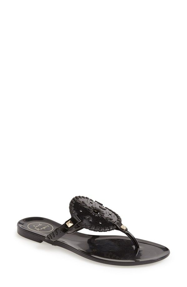jack rogers Georgica jelly sandals black and gold