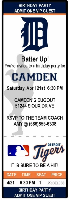 Custom Ticket Birthday Invitation  Detroit Tigers-Can be customized for any team.  from www.amyscustomgreetings.com