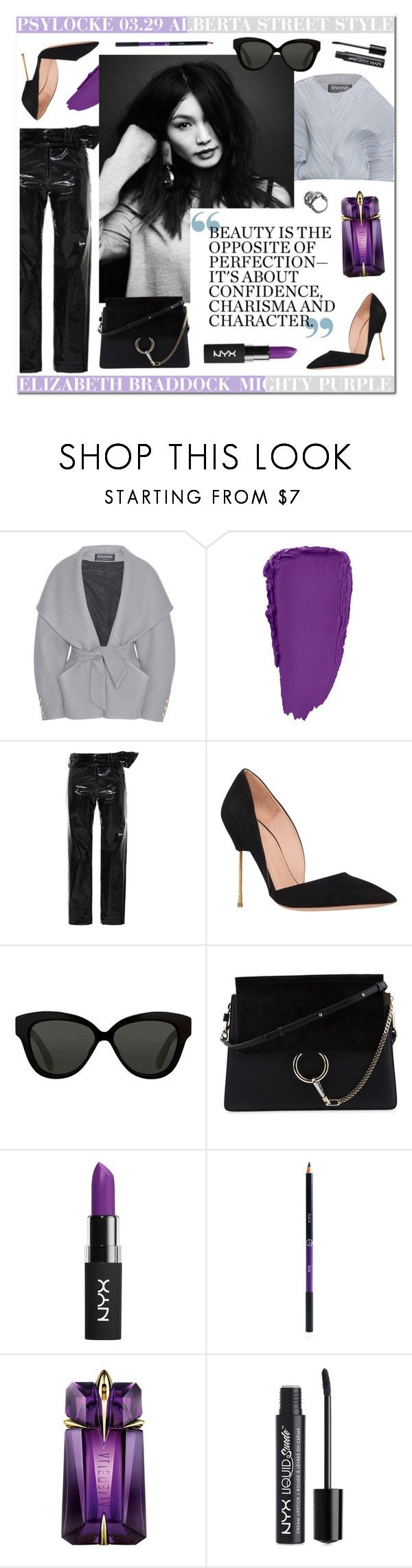 """ALBERTA STREET STYLE // PSYLOCKE"" by carla-turner-bastet ❤ liked on Polyvore featuring Balmain, Isabel Marant, Kurt Geiger, Linda Farrow, Chloé, NYX, Sigma, Thierry Mugler, Eilisain Jewelry and Psylocke"
