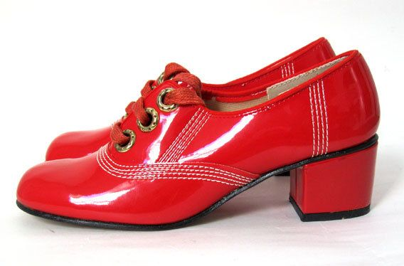 Vintage 1960's Mod Cherry Red Patent Leather Top Stitched Spectator Heel Shoes NOS 5 1/2 B 5.5 60's., via Etsy.