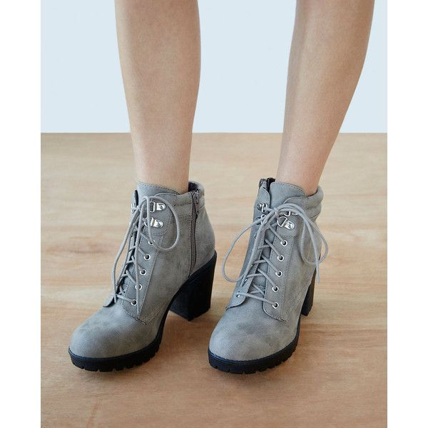 Fortune Dynamics  Chunky Heeled Faux Leather Hiking Boots ($30) ❤ liked on Polyvore featuring shoes, boots, ankle booties, ankle boots, taupe, wet seal, vegan hiking boots, lace up boots, faux leather booties and lace up bootie