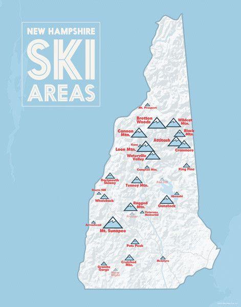 New Hampshire Ski Resorts Map 11x14 Print