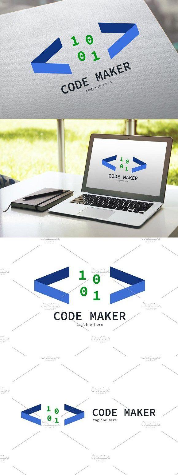 Code Maker Logo. Script Fonts