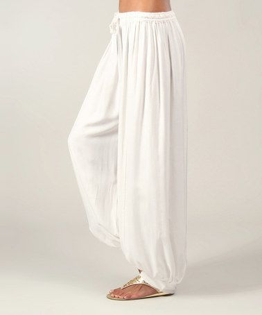 Another great find on #zulily! White Drawstring Harem Pants #zulilyfinds