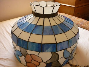 Vintage Tiffany Style Stained Glass Light Fixture Swag Hanging Lamp Shade |  eBay