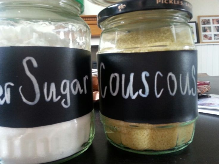 Chalk labels and reused jam jars