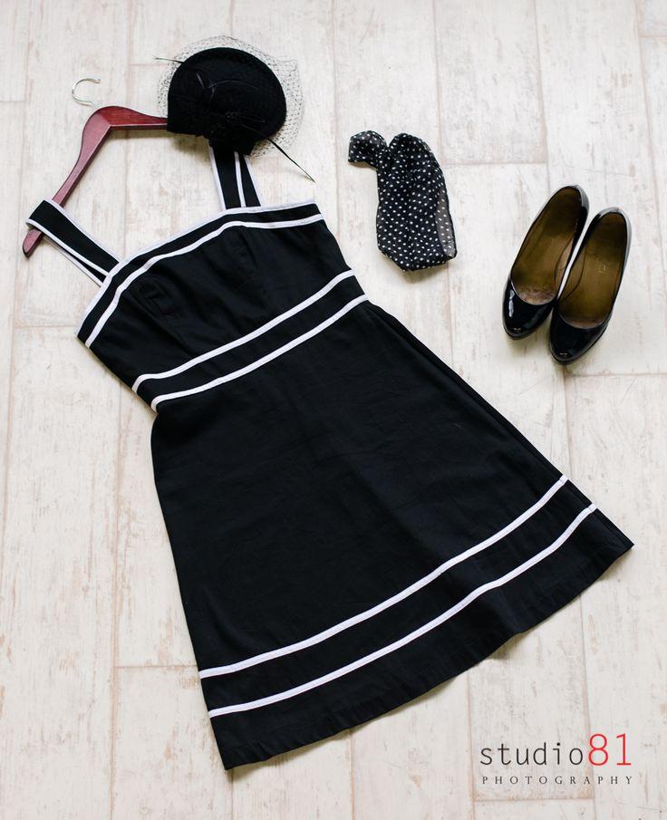 Black and White A-Line Dress, Black Patent Heel (Size 7), Black Fascinator Hat, Black and White Polka dot Scarf