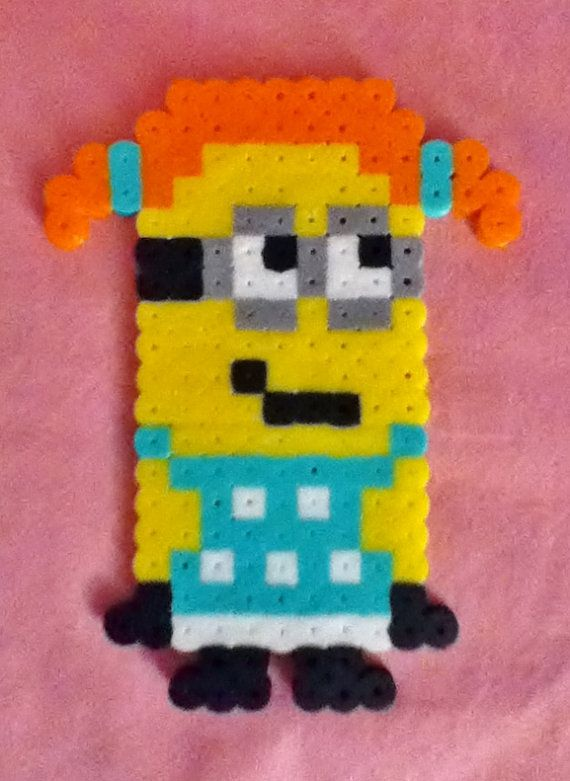 Orange Haired Girl Perler Bead Despicable Me Minion by RainbowMoonShop