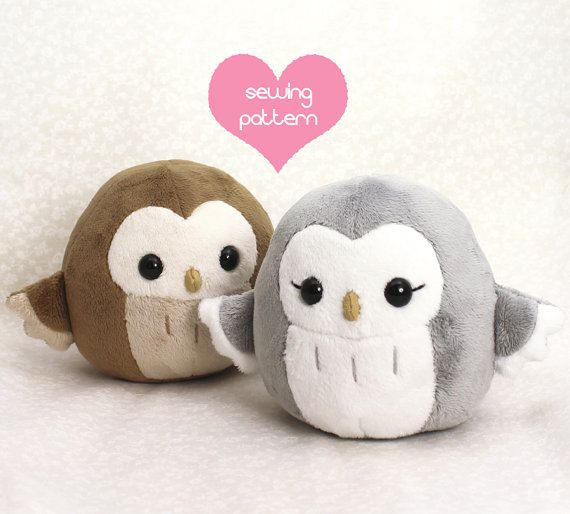 "Plushie Sewing Pattern PDF for cute soft plush toy - Pygmy Owl cuddly stuffed animal 4.5"""