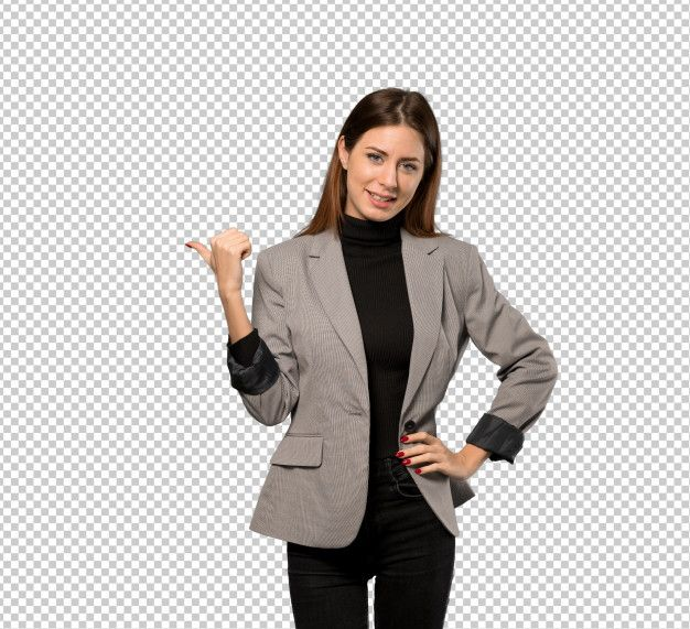 Business Woman Pointing To The Side To Present A Product Business Women Women Blue Art Prints