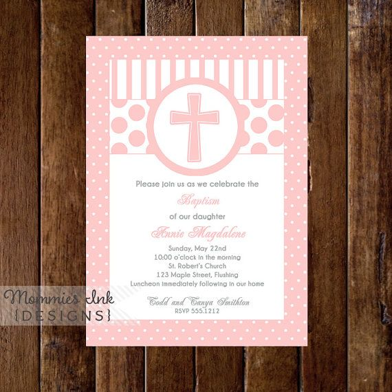 Pink First Communion or Baptism Invitation Girl Version  by MommiesInk, $14.00