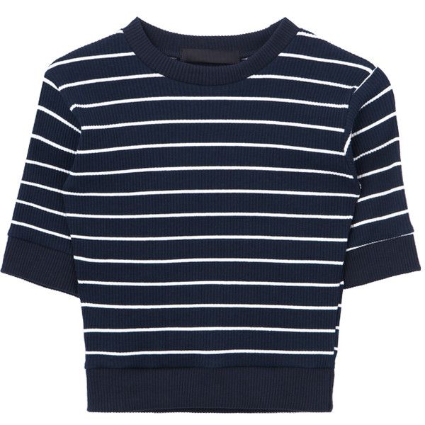 Striped Short Sleeve Crop Top (619.000 VND) ❤ liked on Polyvore featuring tops, striped crop top, stripe crop top, blue striped top, cut-out crop tops and cropped tops