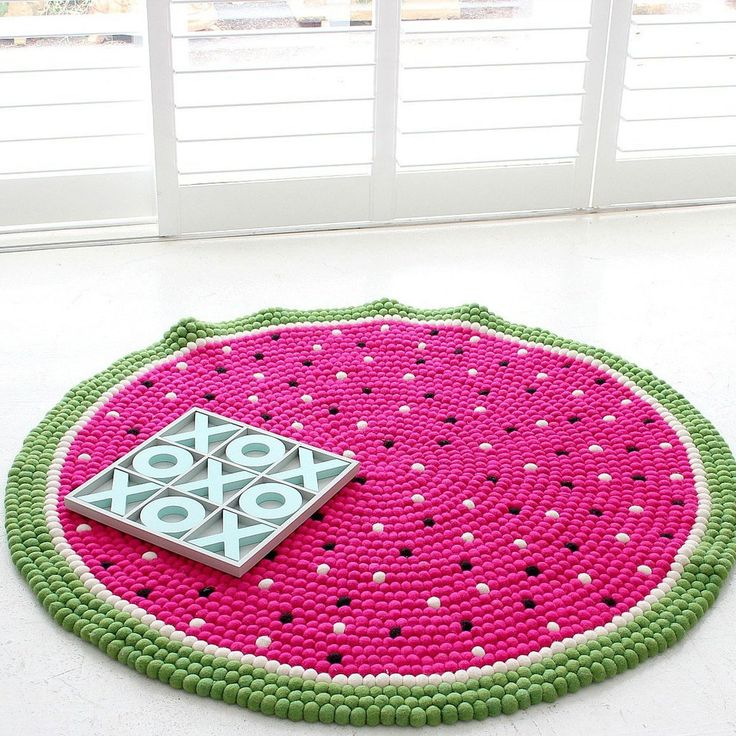 Watermelon Felt Ball Rug Is One Of The Most Popular Felt Ball Rug Designs. Pink & green rug. We Will Beat The Price Of Any Handmade Watermelon Felt Ball Rug Sold In Australia.