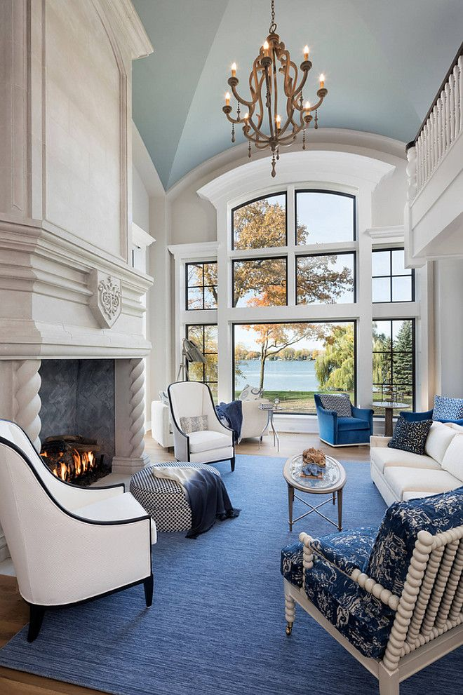 Blue and white Great Room Blue and