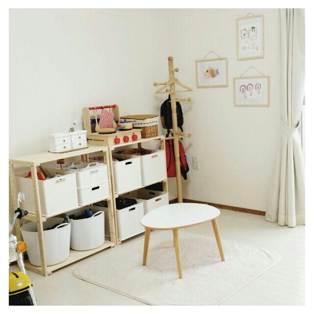 hIcaRiさんの、ウッドラック,おもちゃ収納,ニトリ,うつくしまナチュラル愛好会♡,セリア,ダイソー,子供部屋,部屋全体,のお部屋写真