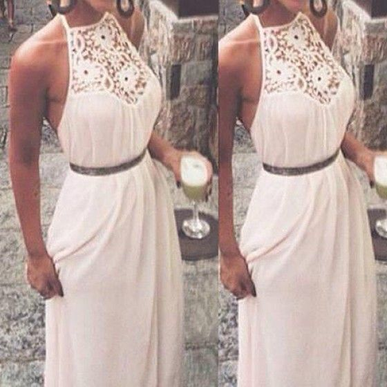 White Patchwork Lace Halter Sleeveless Maxi Dress - Maxi Dresses - Dresses