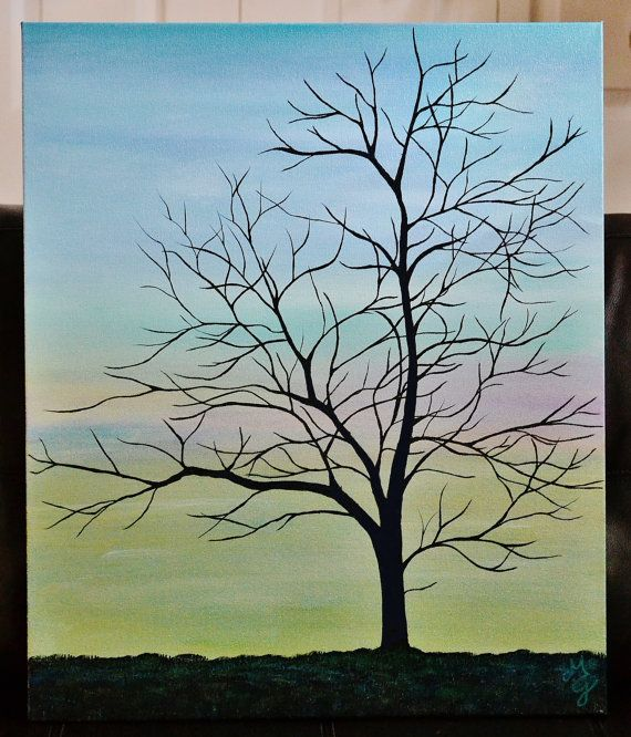 """INNER PEACE, 20"""" x 24"""" Acrylic Canvas Painting, Tree Silhouette, Still Life, Contemporary, Landscape, Blue, Abstract, Branches - beautiful!"""
