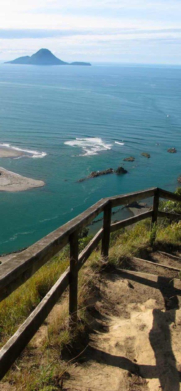 Kohi Point Loop Track - views of Whakatane river mouth, Wairaka statue & Whale Island, Bay of Plenty, North Island, New Zealand