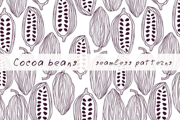 Cocoa beans pattern set  by Illustration with love on @creativemarket