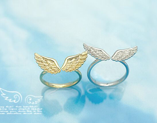 nz16 17mm size Fashion Korean Wholesale Small Shiny Angel Wings Classic Fashion Ring Gold plated and Silver plated