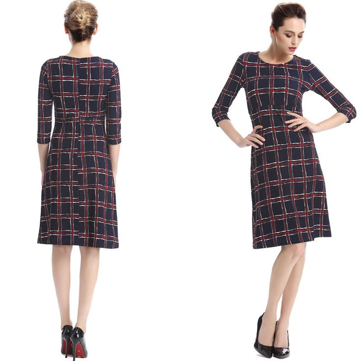 Women knee length dress is perfect for your casual activities at home or out wearing comfortable dress with plaids designed all over the dress that has a round neck. #unomatchshop #dress #sexy #womendress #partydress #fashion #usafashion #formaldress