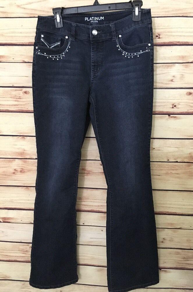 Chico's Jeans Platinum sz 0 womens 4 boot cut dark wash cotton 2% spandex #Chicos #BootCut
