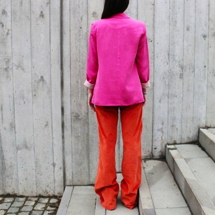 #tombabe #tomboy #jacket #fuchsia #orange #corduroy #jeans #color #streetfashion #streetwear #urban #fashion #women