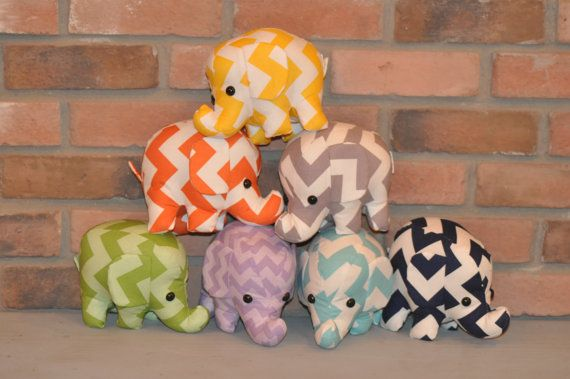elephant stuffed animal  gray and white chevron by kelseybang, $22.00