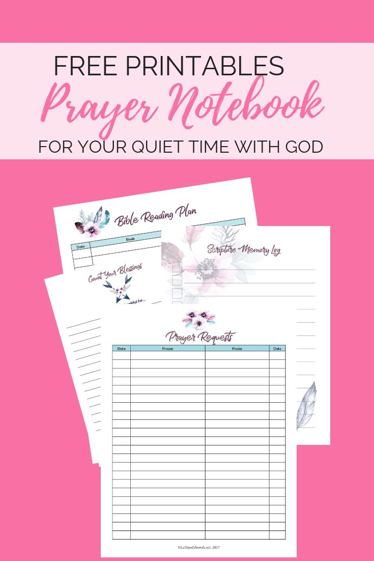 free quiet time   prayer notebook printables