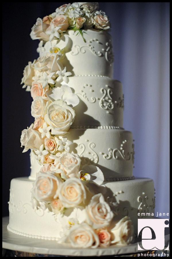 cascading flowers wedding cake, blush roses, 4 tiers