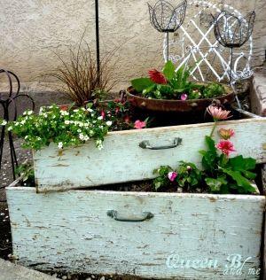 alte Schubladen als Blumentöpfe