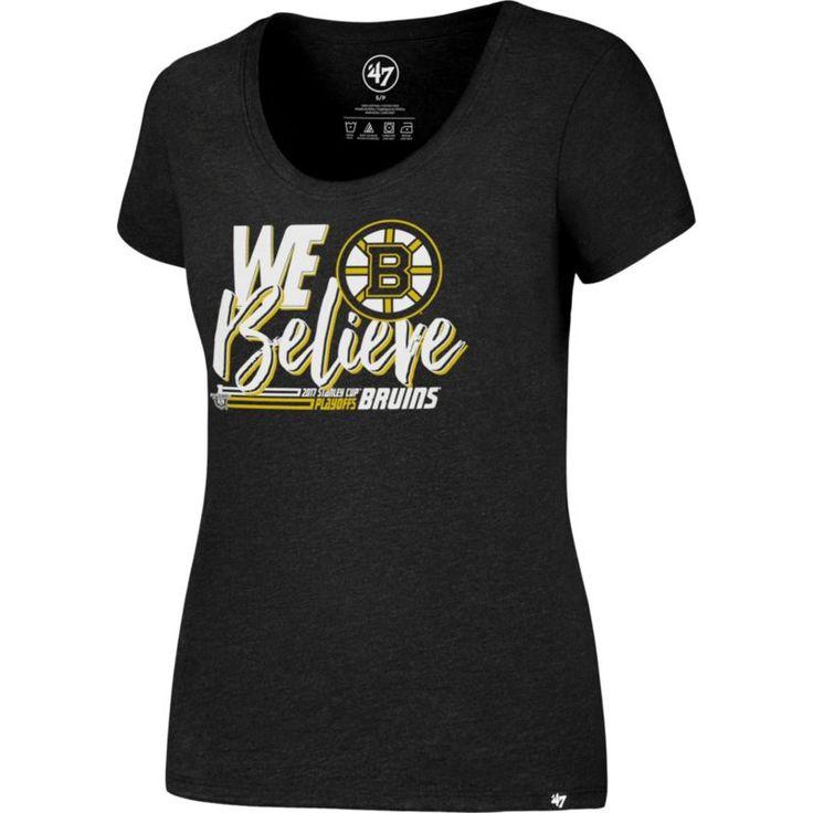 '47 Women's 2017 NHL Stanley Cup Playoffs Boston Bruins Black T-Shirt, Size: Medium, Team