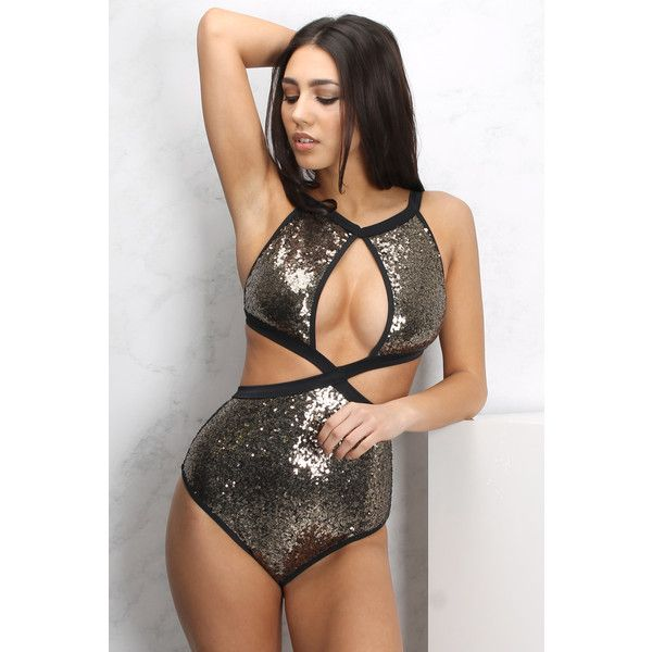 Rare Gold Cut Out Sequin Swimsuit ($51) ❤ liked on Polyvore featuring swimwear, one-piece swimsuits, sequin bathing suit, sequin one piece swimsuit, sequin swimsuit, plunge swimsuit and swim suits