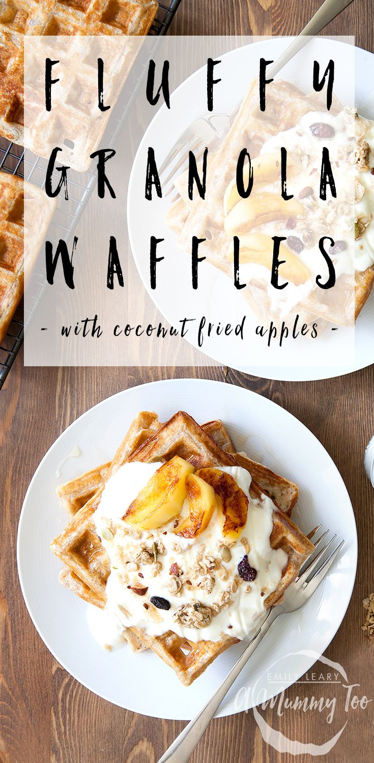 Granola waffles with coconut fried apples. Chewy, fluffy, delicious.