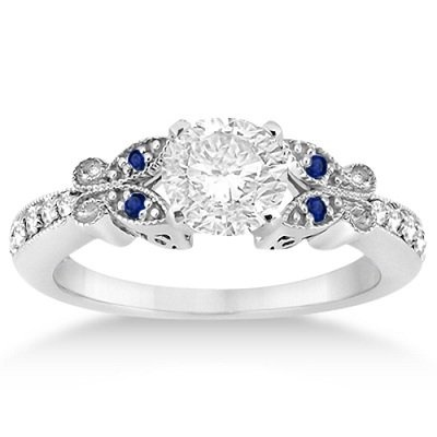 Butterfly Diamond and Sapphire Engagement Ring 14k White Gold (0.20ct): Jewelry: Amazon.com