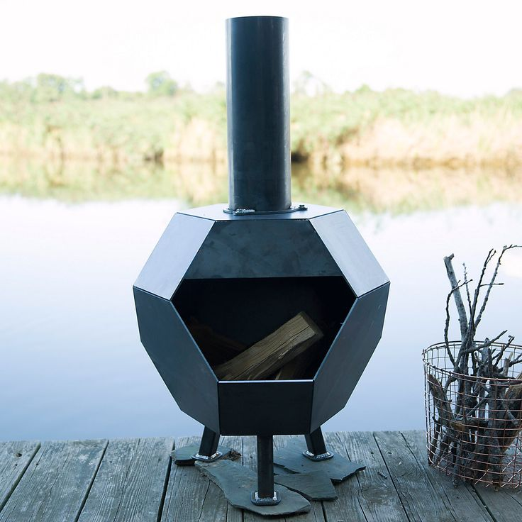 "A sharp, geometric shape sets this patio chiminea apart from the crowd, each one crafted from raw, hand-welded steel. The heavy-gauge metal responds to the elements by developing a reactive patina or rust as a protective barrier, self-sealing over time to beautifully preserve its integrity.- Steel- Removable chimney for cleaning- May patina over time- Handmade in the USA44""H, 24"" diameter"