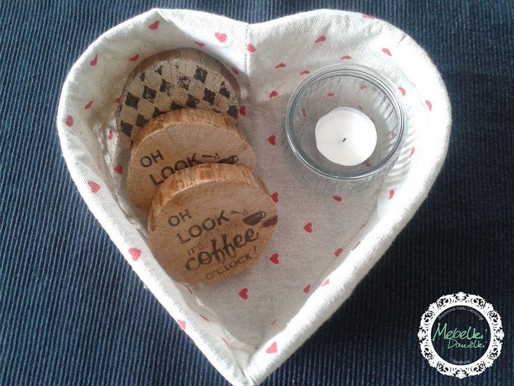 Natural wood transfer  pads of the mug coffee, tee
