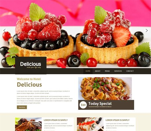 Delicious a Restaurant Mobile Website Template by w3layouts