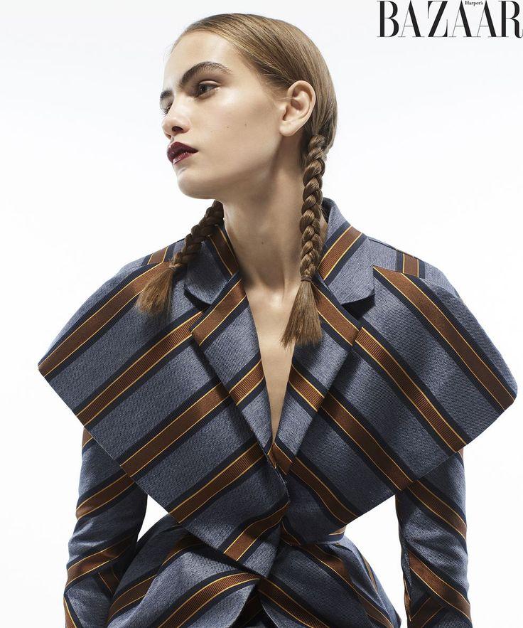 Nina Marker styled by Carine Roitfeld in Fendi Spring/Summer 2'18 for Harper's Bazaar.