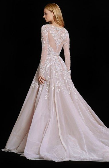 Hayley Paige 'Hayley' Embellished English Net & Tulle Long Sleeve Ballgo…