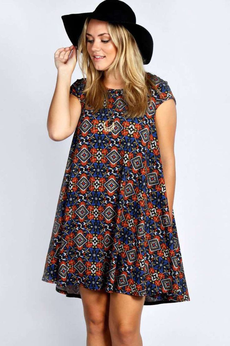Plus Edie Cap Sleeve Swing Dress at boohoo.com