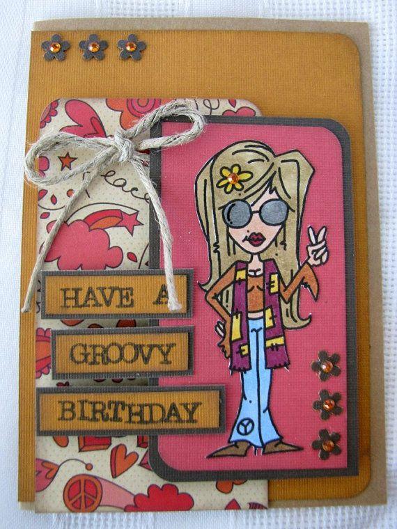 Handmade Birthday card hippie birthday by SpeciallyMadeDesigns