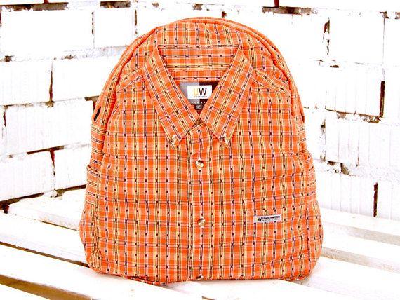 Orange backpack bright backpack colorful backpack vintage