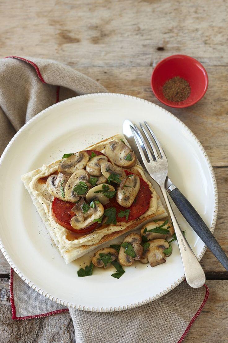 Mushroom and tomato sauté on Turkish toast