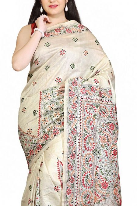 Buy Online Cream Traditional Kantha Tussar Silk Saree . India's Best Ethnic Wears & Wares www.EthnicKart.com