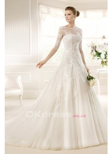 Yes more lace on top fades out towards the bottom and for Tulle bottom wedding dress