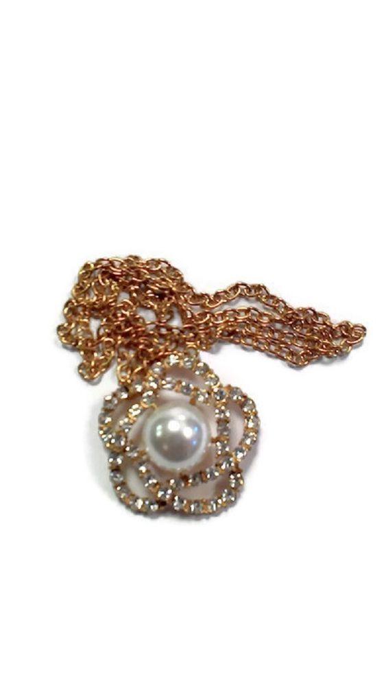 Collana donna necklace con fiore e strass Shiny Flower oro e bianco