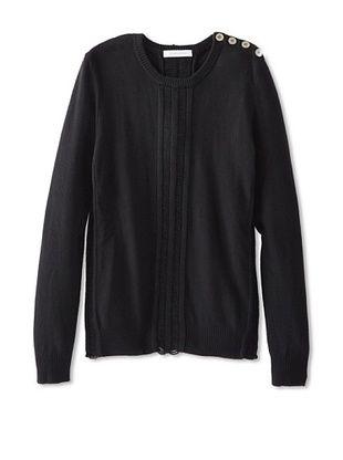 65% OFF Pierre Balmain Men's Crew Neck Sweater with Open Knit Detail (Black)