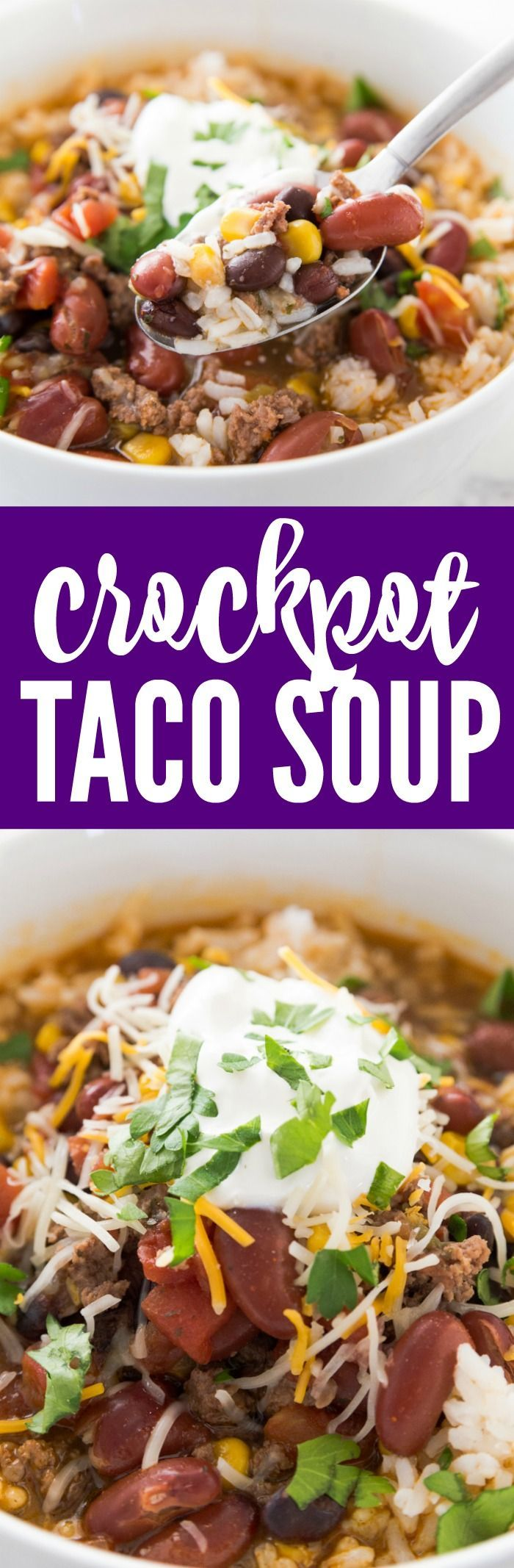 Easy Crockpot Taco Soup Recipe! This 7 Can Slow Cooker Dump Soup is an easy Weekly Dinner Plan idea or freezer meal for kids or a crowd everyone will LOVE! #passion4savings #dinnerrecipes #dinnerideas
