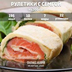 Рулетики с семгой: супер перекус! Ингредиенты: Лаваш армянский - 2 шт Сыр - 150 г (у нас мягкий сливочный) Семга слабосоленая - 200 г Листья салата - 100 г Приготовление: Лаваш смазать сыром, сверху уложить листья салата. Затем — нарезанную тонкими кусочками по 0,5 см семгу — завернуть в рулет. Нарезать на порционные куски. Приятного аппетита!